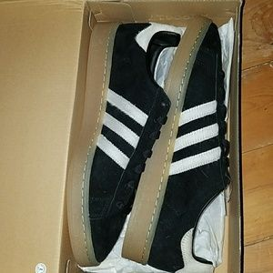 new Adidas campus bz0071 black white silver sz 11